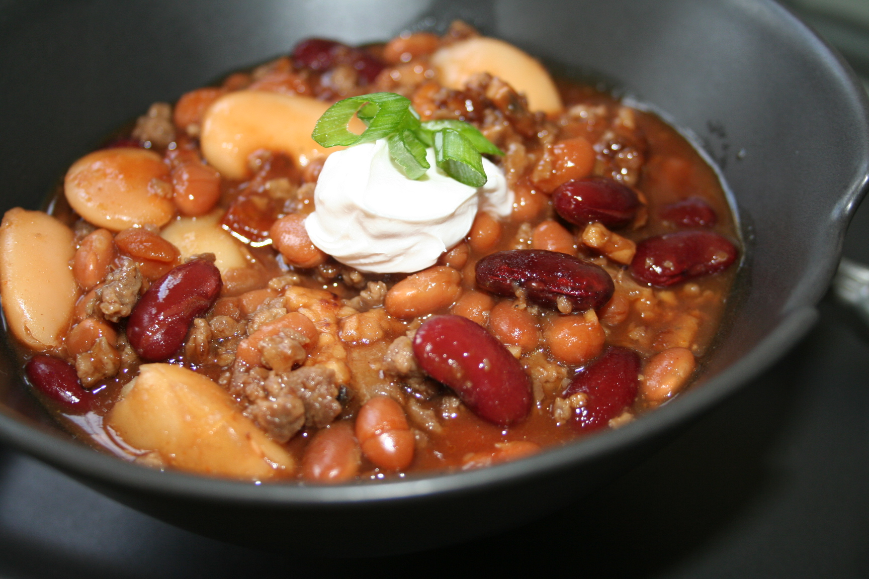 Easy Pork And Three Bean Chili Recipe — Dishmaps